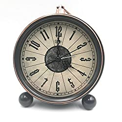 5.5 Classic Retro Clock,JUSTUP European Style Vintage Silent Desk Alarm Clock Non Ticking Quartz Movement Battery Operated , HD Glass Lens, Easy to Read (SZ02)