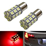 iJDMTOY (2) 360° 27-SMD-5050 7507 PY21W LED Bulbs For Turn Signal Lights, Tail Lights, Brake Lights, Brilliant Red