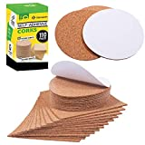 """cork flooring durability Self Adhesive Cork Squares and Round - Premium 110 Pack Mini Corks 4"""" x 4"""" Board Sheets Tiles with 1/8"""" Thickness - Natural Corkboard Mats for Backing Also Used as Coasters DIY Drawing Craft Wall"""