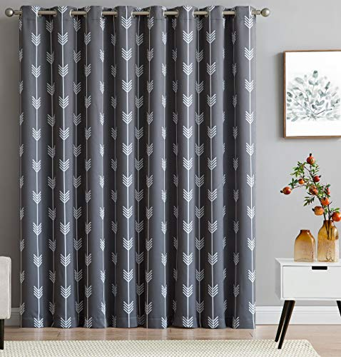 HLC.ME Arrow Print Thermal Grommet Blackout Patio Door Curtain for Sliding Doors - Extra Wide Windows - Dining Room - 100
