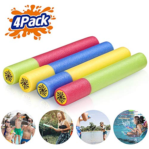 (Creatck Water Gun, 4 Pack Water Guns for Kids Soft Foam Water Blaster Summer Pool Toys for Child Adults - Family Game Expert (Ramdon Color)