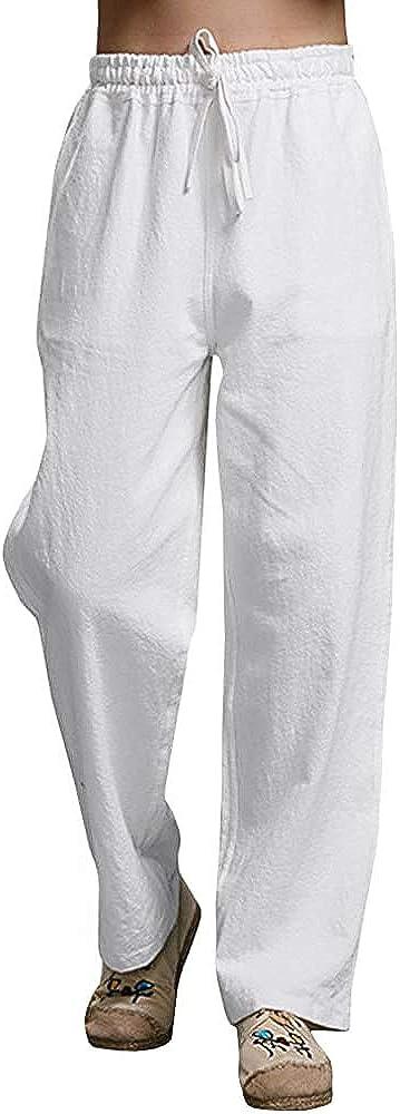JEKAOYI Mens Summer Casual Pants Cotton Linen Elastic Waist Loose Fit Trousers Cargo Beach Pant