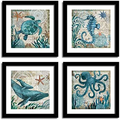 YOOOAHU 4 Pieces Canvas Prints Home Wall Decor Art Collection of Marine Animals Watercolor Sea Turtle Seahorse Whale Octopus Ocean Animal Pictures Modern Artwork Ready to Hang