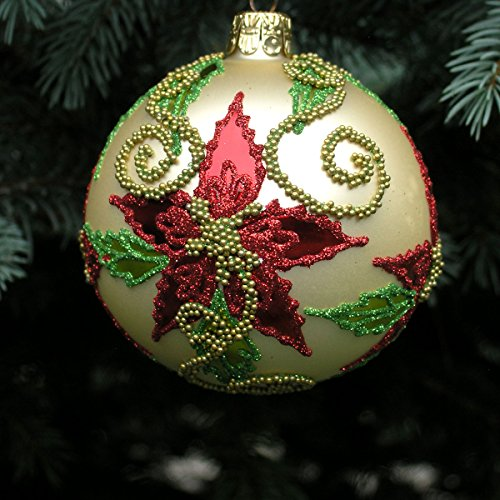 Beaded Poinsettia Ball Blown Glass Ornament - Case of 6 ()