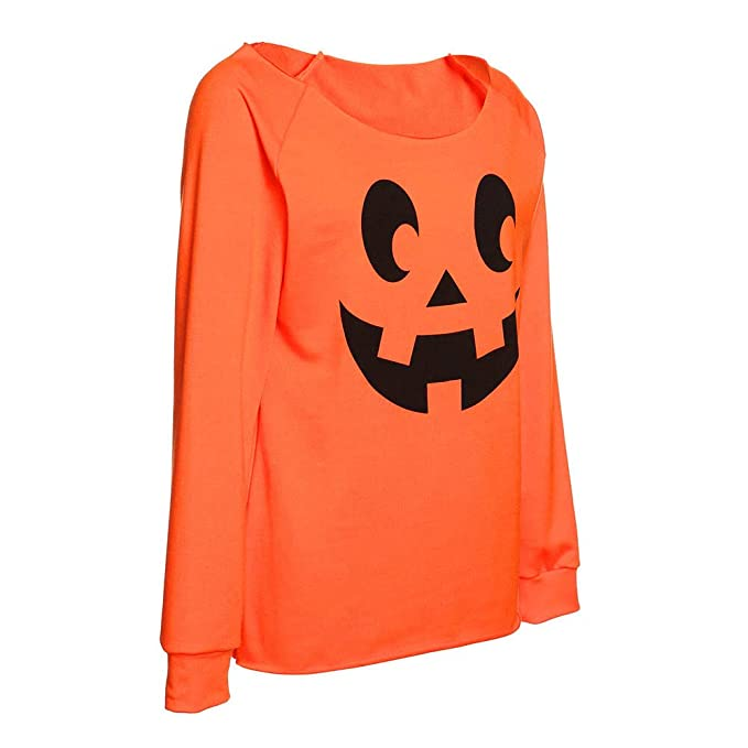 2018 Limsea Women Plus Size Halloween Angry Pumpkin Skew Neck Long Sleeve Blouse Tops at Amazon Womens Clothing store: