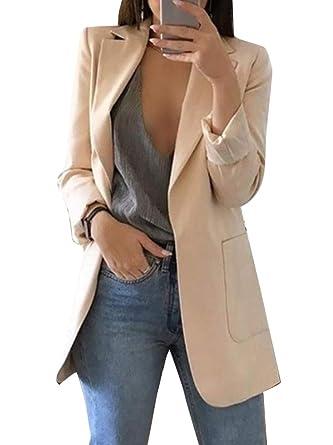 Minetom Mujer Manga Larga Blazer Elegante Oficina Negocios Parte OL Traje De Chaqueta Sólido Slim Fit Abrigo Cardigan Outwear Top