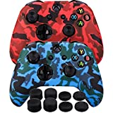 xbox 1 control covers - MXRC Silicone rubber cover skin case anti-slip Water Transfer Customize Camouflage for Xbox One/S/X controller x 2(red & blue) + FPS PRO extra height thumb grips x 8