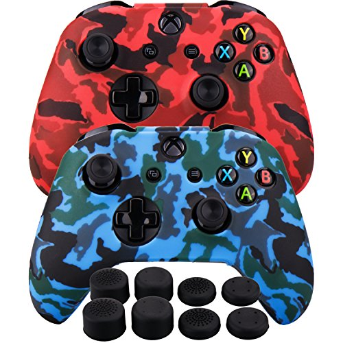 MXRC Silicone rubber cover skin case anti-slip Water Transfer Customize Camouflage for Xbox One/S/X controller x 2(red & blue) + FPS PRO extra height thumb grips x 8