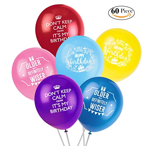 On sales! Happy Birthday Party Balloon. 60pcs, 12 Inches, Thick, and High Quality Balloons - Decoration, Celebration, Party. 100% Risk Free Guarantee! Return within 30 Days and you get full refund.