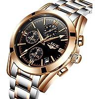 Men's Watches Analog Quartz Dress Watch Men Full Steel Waterproof Chronograph Sport Wristwatch Gold Black