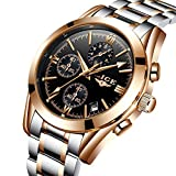 Men's Watches Analog Quartz Dress Watch Men Full Steel Waterproof Chronograph Sport Wristwatch Gold Black