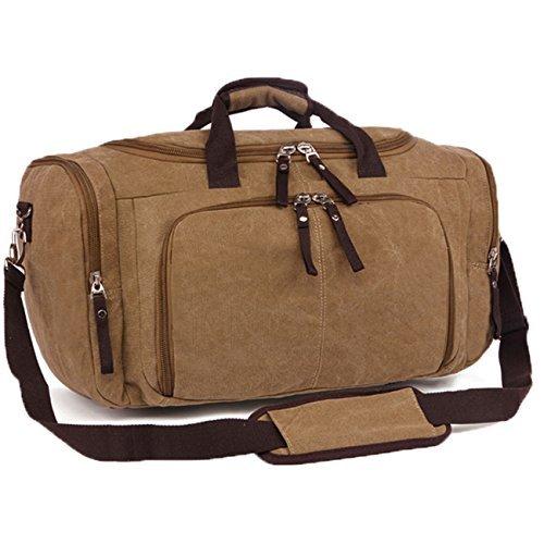 Duffel Bag Canvas Leather Travel Tote Duffel Shoulder handbag Mens  Weekender Bags From Hi ec842a370efb1
