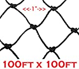 3 Size, 1'' Square Mesh Hole, Net Netting for Bird Poultry Aviary Game Garden Pens (100ft x 100ft)