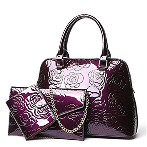 Composite Gold Bags Purple Messenger Bag Leather 3 Women Sets qxwXgXaH