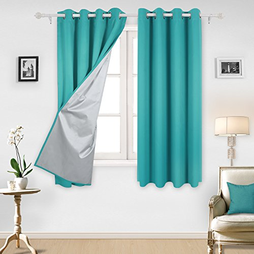 Deconovo Teal Blackout Curtains Grommet Top Curtains with Silver Coating for Girls Room 52 By 63 Inch Turquoise/Teal 2 Panels (Curtains Teal Silver)