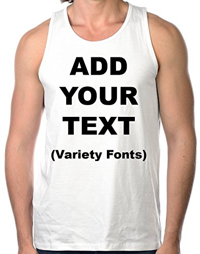 Custom Tank Tops for Men Ultra Soft t Shirts Add Your Own Text Message [White/M] -