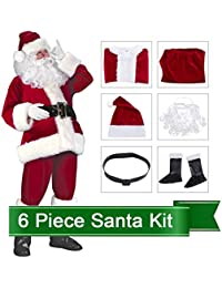 Santa Claus Costume Suit Deluxe Adult Men Christmas Party Cosplay Santa Outfit