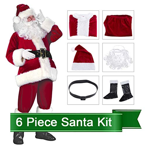Santa Claus Costume Suit Deluxe Adult Men Christmas Party Cosplay Santa Outfit (One Size, Wine RED) for $<!--$29.99-->
