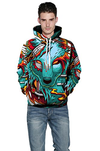 YISUMEI Unisex Hoodie Hooded Sweatshirt 3D Print Abstract Fox Blue S/M ()