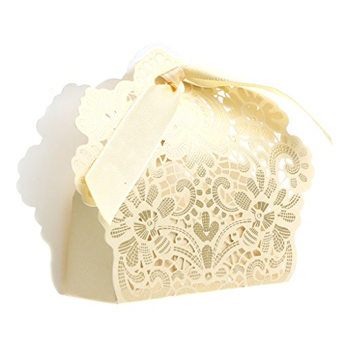 cici store 50Pcs Lace Flower Candy Boxes Wedding Favor Party Sweet Cake Gifts (Gold)