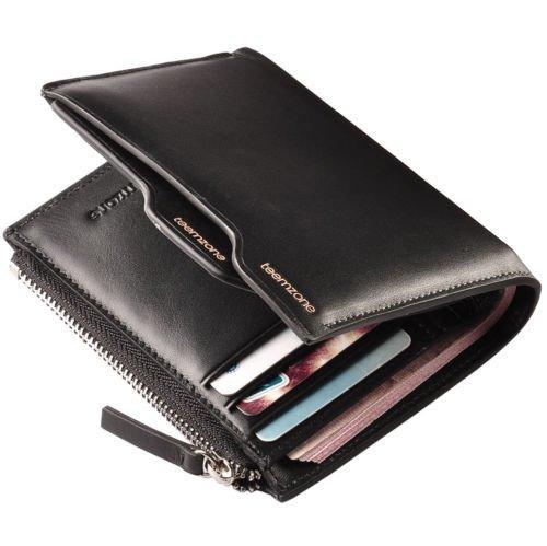 Genuine Leather Men's Bifold Wallet Purse Card Cash Receipt Holder Organizer NEW ( Black vertical style )