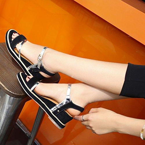 Sandales Pu Femme Été D'étudiant À Bout Femmes Pente Supérieur Ouvert Chaussures Talons Noir Pour trwtqHF
