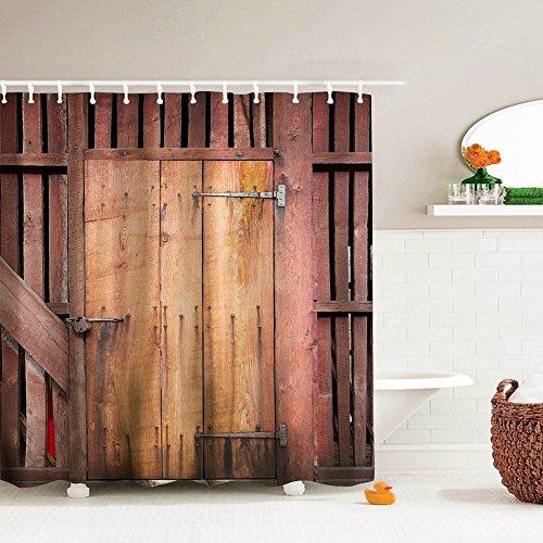Wooden Door Shower Curtain Polyester Fabric Rustic and Vintage Wood Barn Garage Door Bathroom Curtain Waterproof Mildew Resistant 72 X 72 Inches BROSHAN (Brown) - Barn Style Doors