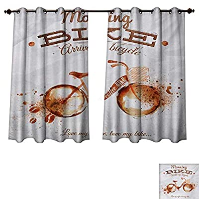 RuppertTextile Coffee Art Bedroom Thermal Blackout Curtains Refreshing Morning Coffee and Bike Theme Love Passion Habit Artistic Drapes for Living Room Dark Orange Chocolate