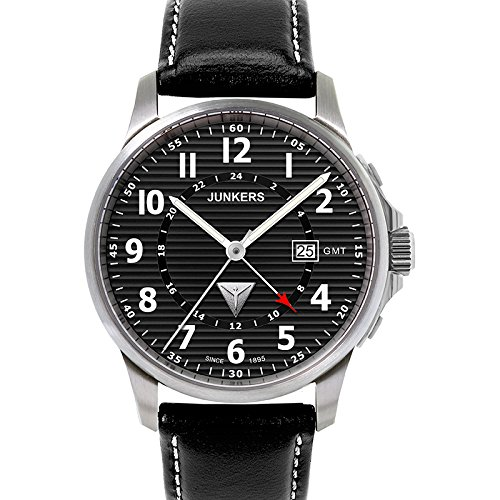 Junkers Tante JU Series GMT Watch with Corrugated Black Dial 6848-2