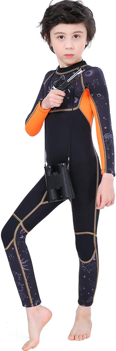 Cokarsey Kids Full Body Wetsuit 2.5mm Neoprene Back Zipper Sun Protection Thermal Swimsuit for Boys