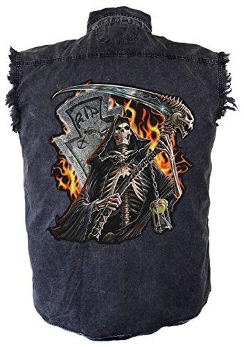 Leather Supreme Men's Grim Reaper Flames Denim Sleeveless Cutoff Biker (Flame Skull Button Down Shirt)