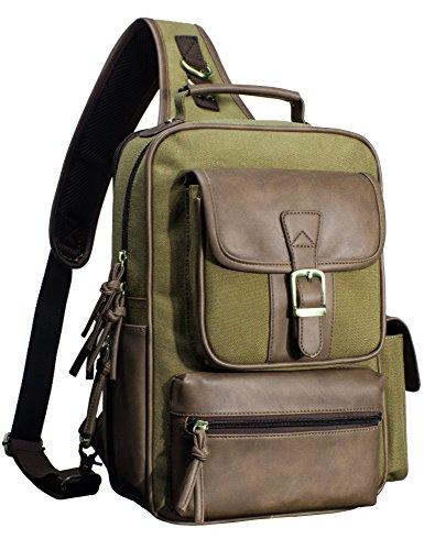 Messenger Sling - H Hikker-Link Mens Canvas Messenger Bag Laptop Sling Backpack Khaki Green and PU