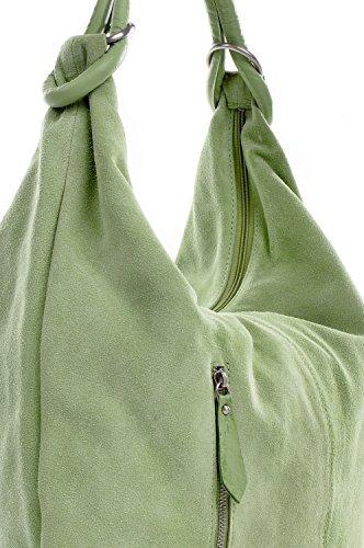 CNTMP - bolso para señora, bolsos hobo, bandoleras, bolsos de tendencia, gamuza, bolso de cuero, din-a4, 44x36x4cm (l x an x a) Verde claro