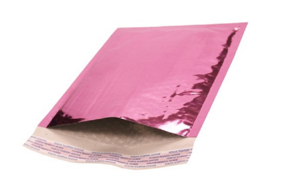 Amiff Bubble mailers 4.25 x 7. Padded envelopes 4 1/4 x 7. Exterior size 5x8 (5 x 8). Peel & Seal. Glamour Metallic foil. Mailing & shipping & packing & packaging. Pack of 20 Pink cushion envelopes.