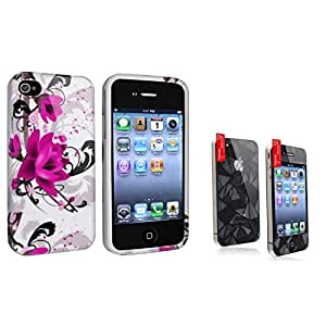 Everydaysource® Compatible with Apple® iPhone® 4 - AT&T / 4 - Verizon / 4S White Purple Flower TPU Rubber Skin Case + 3D Diamond Blink LCD Cover