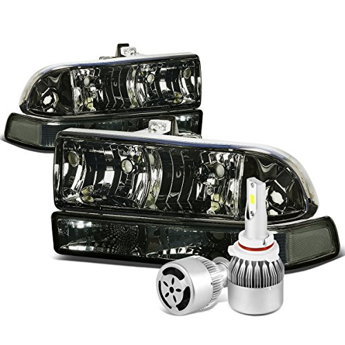 For Chevy S10 / Blazer GMT325/330 Smoked Lens Clear Corner Headlight & Bumper Lamp + 9006 LED Conversion Kit W/Fan