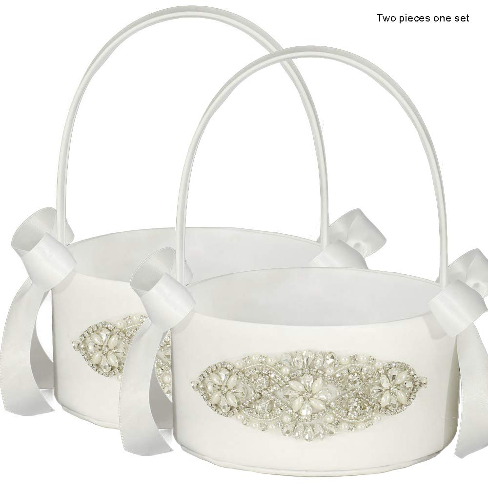 LAPUDA Bridal Decorative Wedding Supplies Flower Girl Baskets with Shining Diamonds, Delicate and Shining,Two Pieces one Set Style HL0253 (White) by LAPUDA