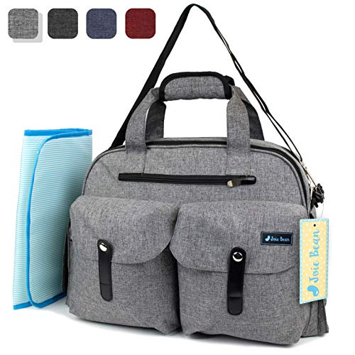 JOIE BEAN Baby Diaper Tote Bag with Changing Mat and Insulated Pockets, Large Capacity Travel Baby Bag with Stroller Straps, Multi-Function Maternity Nappy Bag (Light Grey)