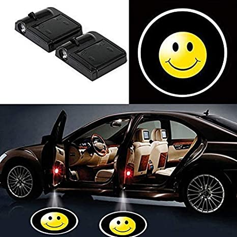 COUL 4 Pcs Wireless Car Door Led Welcome Laser Projector Logo Light Ghost Shadow Light Lamp Logos with smile logo,Dodge