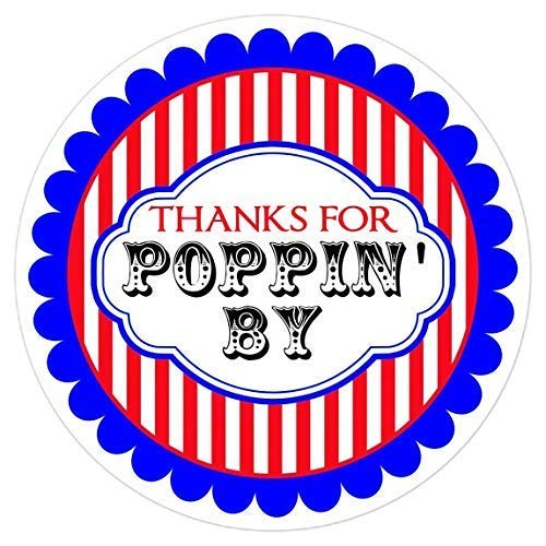 60 Thanks for Poppin By Circus Labels 2 inch