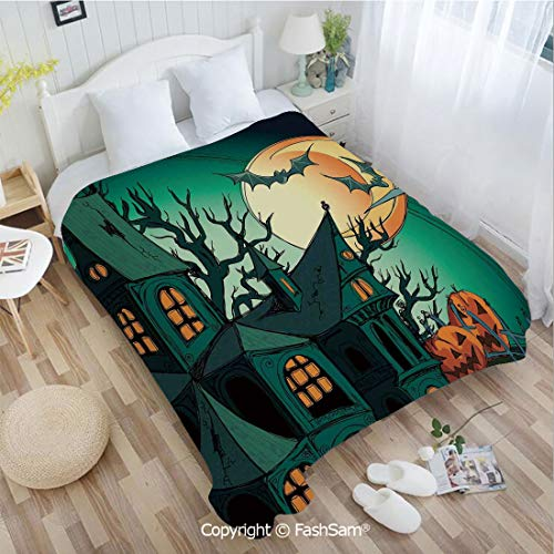 - PUTIEN 3D Print Flannel Blanket Haunted Medieval Cartoon Bats in Twilight Gothic Fiction Spooky Art for Fun Playroom Decorations(59Wx78L)