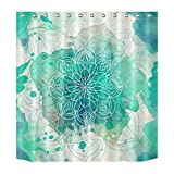 "Gothic Church Cathedral Mandala Colorful Stained Glass Decor Shower Curtain Polyester Fabric 3D Digital 72x72"" Mildew Resistant Waterproof Turquoise Light Green Flower Bathroom Bath Liner Set"