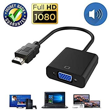 HDMI to VGA Cable Adapter Converter 15 Pin d Sub, HDMI Gold with Audio Male  to VGA Female Connector Cord for Laptop Computer Connect to Monitor, Apply