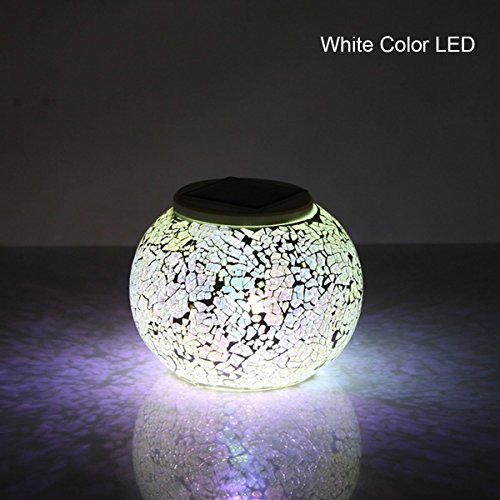 Krismile Hot Sale Creative Solar powered Color-changing Mosaic Table Lamp, Waterproof Crystal Glass Globe Ball Solar Night Light for Garden, Patio, Party, Yard, Outdoor / Indoor Decorations (Silver) by Krismile