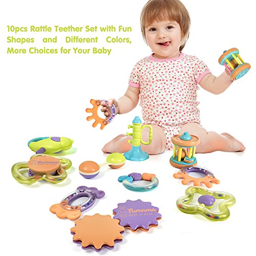 Hot Sale Tumama 10 Pcs Baby Rattles And Teethers Toys For Newborn