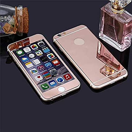 5fbd3a685bd Amazon.com: 1 piece Back + Front Premium Mirror Electroplating Tempered  Glass Screen Protector For iPhone 5 5s SE 4 4s 6 6S 7 8 PLUS X 10 case cover:  ...