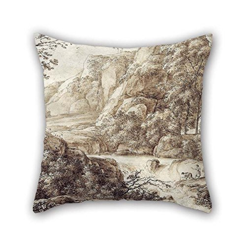 Pillow Shams Of Oil Painting Franz Kobell - Mountainous Landscape 18 X 18 Inches / 45 By 45 Cm Best Fit For Dining Room Birthday Festival Office Chair Bf 2 Sides (Chair Task Burgundy Multi)