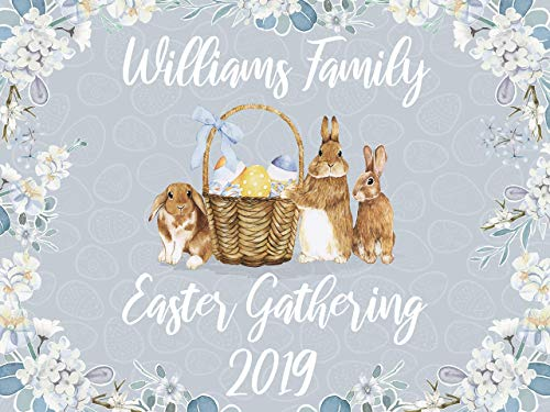 Easter Party Banner, Easter Sunday Personalized Poster, Bunny, Rabbit, Easter Eggs Hunt, Easter Brunch Party Banner, Easter Backdrop, Handmade Party Decorations, Size 24x36, 48x24, 48x36, ()