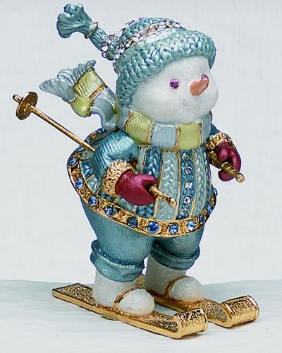 (Skiing Snowman Bejeweled & Enameled Hinged Trinket Box)
