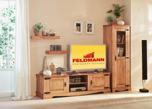 Wohnwand Anbauwand mit TV-Board 1556+1557+1558+1559 Mexican Kiefer massiv antik gewachst